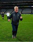 13 December 2020; Limerick manager John Kiely celebrates following the GAA Hurling All-Ireland Senior Championship Final match between Limerick and Waterford at Croke Park in Dublin. Photo by Ramsey Cardy/Sportsfile