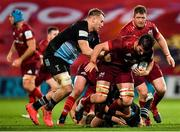 13 December 2020; Jean Kleyn of Munster is tackled by Alex Dombrandt, left, and Scott Baldwin of Harlequins during the Heineken Champions Cup Pool B Round 1 match between Munster and Harlequins at Thomond Park in Limerick. Photo by Seb Daly/Sportsfile
