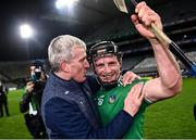 13 December 2020; Peter Casey of Limerick is congratulated by manager John Kiely following the GAA Hurling All-Ireland Senior Championship Final match between Limerick and Waterford at Croke Park in Dublin. Photo by David Fitzgerald/Sportsfile