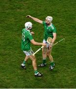 13 December 2020; Aaron Gillane, left, and Cian Lynch of Limerick celebrate after the GAA Hurling All-Ireland Senior Championship Final match between Limerick and Waterford at Croke Park in Dublin. Photo by Daire Brennan/Sportsfile