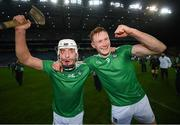 13 December 2020; Pat Ryan, left, and William O'Donoghue of Limerick celebrate following the GAA Hurling All-Ireland Senior Championship Final match between Limerick and Waterford at Croke Park in Dublin. Photo by Stephen McCarthy/Sportsfile