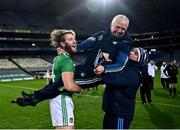 13 December 2020; Séamus Flanagan of Limerick lifts selector Conor McCarthy following the GAA Hurling All-Ireland Senior Championship Final match between Limerick and Waterford at Croke Park in Dublin. Photo by David Fitzgerald/Sportsfile