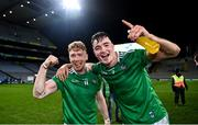 13 December 2020; Cian Lynch, left, and Kyle Hayes of Limerick celebrate following the GAA Hurling All-Ireland Senior Championship Final match between Limerick and Waterford at Croke Park in Dublin. Photo by David Fitzgerald/Sportsfile