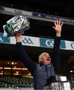 13 December 2020; Limerick manager John Kiely celebrates with the Liam MacCarthy Cup after the GAA Hurling All-Ireland Senior Championship Final match between Limerick and Waterford at Croke Park in Dublin. Photo by Ray McManus/Sportsfile
