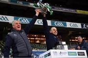 13 December 2020; Limerick manager John Kiely and Mike O'Riordan, the Limerick Secretary, celebrate with the Liam MacCarthy Cup after the GAA Hurling All-Ireland Senior Championship Final match between Limerick and Waterford at Croke Park in Dublin. Photo by Ray McManus/Sportsfile