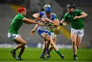 13 December 2020; Austin Gleeson of Waterford is tackled by Barry Nash, left, and Declan Hannon of Limerick during the GAA Hurling All-Ireland Senior Championship Final match between Limerick and Waterford at Croke Park in Dublin. Photo by Ramsey Cardy/Sportsfile