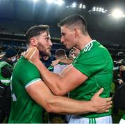 13 December 2020; Tom Morrissey, left, and Gearóid Hegarty of Limerick celebrate following the GAA Hurling All-Ireland Senior Championship Final match between Limerick and Waterford at Croke Park in Dublin. Photo by Ramsey Cardy/Sportsfile