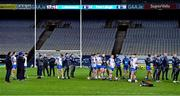 13 December 2020; Waterford players listen to the acceptance speech of Limerick captain Declan Hannon after the GAA Hurling All-Ireland Senior Championship Final match between Limerick and Waterford at Croke Park in Dublin. Photo by Piaras Ó Mídheach/Sportsfile