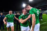 13 December 2020; Limerick players, from left, Gearóid Hegarty, Seán Finn, and William O'Donoghue celebrate after the GAA Hurling All-Ireland Senior Championship Final match between Limerick and Waterford at Croke Park in Dublin. Photo by Piaras Ó Mídheach/Sportsfile