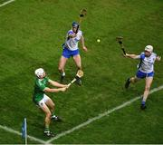 13 December 2020; Aaron Gillane of Limerick in action against Conor Prunty, left, and Shane McNulty of Waterford during the GAA Hurling All-Ireland Senior Championship Final match between Limerick and Waterford at Croke Park in Dublin. Photo by Daire Brennan/Sportsfile
