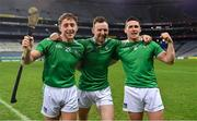 13 December 2020; Limerick players, from left, Pat Ryan, Richie English and Darragh O'Donovan celebrate after the GAA Hurling All-Ireland Senior Championship Final match between Limerick and Waterford at Croke Park in Dublin. Photo by Brendan Moran/Sportsfile