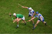 13 December 2020; Kyle Hayes of Limerick in action against Neil Montgomery, left, and Austin Gleeson of Waterford during the GAA Hurling All-Ireland Senior Championship Final match between Limerick and Waterford at Croke Park in Dublin. Photo by Daire Brennan/Sportsfile