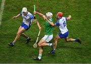 13 December 2020; Kyle Hayes of Limerick in action against Jack Prendergast, right, and Jack Fagan of Waterford during the GAA Hurling All-Ireland Senior Championship Final match between Limerick and Waterford at Croke Park in Dublin. Photo by Daire Brennan/Sportsfile