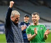 13 December 2020; Limerick manager John Kiely celebrates alongside Graeme Mulcahy after the GAA Hurling All-Ireland Senior Championship Final match between Limerick and Waterford at Croke Park in Dublin. Photo by Piaras Ó Mídheach/Sportsfile