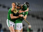 13 December 2020; Limerick players, from left, Declan Hannon, Seán Finn, and Paddy O'Loughlin celebrate after the GAA Hurling All-Ireland Senior Championship Final match between Limerick and Waterford at Croke Park in Dublin. Photo by Piaras Ó Mídheach/Sportsfile