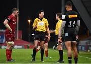 13 December 2020; Referee Pascal Gauzère consults with his linesman before awarding a penalty try to Munster during the Heineken Champions Cup Pool B Round 1 match between Munster and Harlequins at Thomond Park in Limerick. Photo by Sam Barnes/Sportsfile