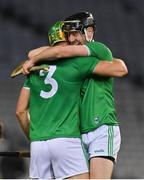 13 December 2020; Dan Morrissey, left, and Diarmaid Byrnes of Limerick  celebrate at the final whistle of the GAA Hurling All-Ireland Senior Championship Final match between Limerick and Waterford at Croke Park in Dublin. Photo by Brendan Moran/Sportsfile