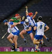13 December 2020; Jack Prendergast of Waterford catches the sliotar ahead of team-mates Stephen Bennett and Austin Gleeson and Barry Nash of Limerick during the GAA Hurling All-Ireland Senior Championship Final match between Limerick and Waterford at Croke Park in Dublin. Photo by Brendan Moran/Sportsfile