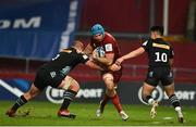 13 December 2020; Tadhg Beirne of Munster in action against Wilco Louw, left, and Marcus Smith of Harlequins during the Heineken Champions Cup Pool B Round 1 match between Munster and Harlequins at Thomond Park in Limerick. Photo by Sam Barnes/Sportsfile