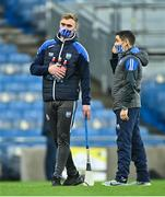 13 December 2020; Injured Waterford player Pauric O'Mahony, left, with performance analyst Donie Mac Murchú prior to the GAA Hurling All-Ireland Senior Championship Final match between Limerick and Waterford at Croke Park in Dublin. Photo by Piaras Ó Mídheach/Sportsfile