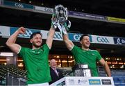 13 December 2020; Tom Morrissey and Dan Morrissey of Limerick with the Liam MacCarthy Cup after the GAA Hurling All-Ireland Senior Championship Final match between Limerick and Waterford at Croke Park in Dublin. Photo by Ray McManus/Sportsfile