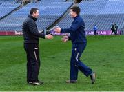 13 December 2020; Kerry selector Brendan Cummins, left, and Antrim manager Darren Gleeson greet each other after the Joe McDonagh Cup Final match between Kerry and Antrim at Croke Park in Dublin. Photo by Piaras Ó Mídheach/Sportsfile