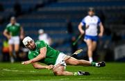 13 December 2020; Aaron Gillane of Limerick takes a swipe at the sliotar as he falls to the ground during the GAA Hurling All-Ireland Senior Championship Final match between Limerick and Waterford at Croke Park in Dublin. Photo by Ray McManus/Sportsfile