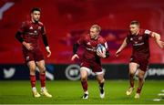 13 December 2020; Keith Earls of Munster, centre, supported by team-mates Conor Murray, left, and Andrew Conway during the Heineken Champions Cup Pool B Round 1 match between Munster and Harlequins at Thomond Park in Limerick. Photo by Seb Daly/Sportsfile