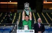 13 December 2020; Darragh O'Donovan of Limerick lifts the Liam MacCarthy Cup following the GAA Hurling All-Ireland Senior Championship Final match between Limerick and Waterford at Croke Park in Dublin. Photo by Stephen McCarthy/Sportsfile