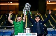13 December 2020; Brothers Aaron, left, and Jason Gillane of Limerick lift the Liam MacCarthy Cup following the GAA Hurling All-Ireland Senior Championship Final match between Limerick and Waterford at Croke Park in Dublin. Photo by Stephen McCarthy/Sportsfile