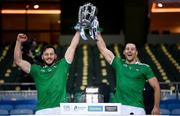 13 December 2020; Tom Morrissey, left, and Dan Morrissey of Limerick lift the Liam MacCarthy Cup following the GAA Hurling All-Ireland Senior Championship Final match between Limerick and Waterford at Croke Park in Dublin. Photo by Stephen McCarthy/Sportsfile