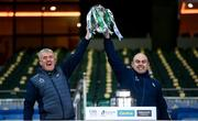 13 December 2020; Limerick manager John Kiely, left, and Limerick Secretary Mike O'Riordan lift the Liam MacCarthy Cup following the GAA Hurling All-Ireland Senior Championship Final match between Limerick and Waterford at Croke Park in Dublin. Photo by Stephen McCarthy/Sportsfile