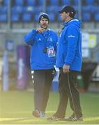 12 December 2020; Leinster A sub-academy athletic performance coach Ciaran Walsh, left, and Leinster A elite player development officer Denis Leamy ahead of the A Interprovincial Friendly match between Leinster A and Connacht Eagles at Energia Park in Dublin. Photo by Ramsey Cardy/Sportsfile