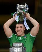 13 December 2020; Seán Finn of Limerick lifts the Liam MacCarthy Cup following the GAA Hurling All-Ireland Senior Championship Final match between Limerick and Waterford at Croke Park in Dublin. Photo by Ramsey Cardy/Sportsfile