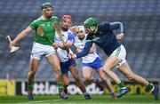 13 December 2020; Limerick goalkeeper Nickie Quaid prepares to clear as his team mate Seán Finn contains Jack Prendergast of Waterford during the GAA Hurling All-Ireland Senior Championship Final match between Limerick and Waterford at Croke Park in Dublin. Photo by Ray McManus/Sportsfile