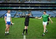 13 December 2020; The two captains, Tadhg De Búrca of Waterford, and Declan Hannon of Limerick, greet each other in front of referee Fergal Horgan before the GAA Hurling All-Ireland Senior Championship Final match between Limerick and Waterford at Croke Park in Dublin. Photo by Ray McManus/Sportsfile