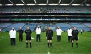13 December 2020; Referee Fergal Horgan and his officials before the GAA Hurling All-Ireland Senior Championship Final match between Limerick and Waterford at Croke Park in Dublin. Photo by Ray McManus/Sportsfile