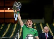 13 December 2020; Pat Ryan of Limerick lifts the Liam MacCarthy Cup following the GAA Hurling All-Ireland Senior Championship Final match between Limerick and Waterford at Croke Park in Dublin. Photo by Stephen McCarthy/Sportsfile