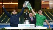 13 December 2020; Brian Ryan, left, and Barry Nash of Limerick lift the Liam MacCarthy Cup following the GAA Hurling All-Ireland Senior Championship Final match between Limerick and Waterford at Croke Park in Dublin. Photo by Stephen McCarthy/Sportsfile