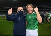 13 December 2020; Séamus Flanagan of Limerick and Limerick secretary Mike O'Riordan celebrate following the GAA Hurling All-Ireland Senior Championship Final match between Limerick and Waterford at Croke Park in Dublin. Photo by Stephen McCarthy/Sportsfile
