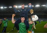 13 December 2020; Aaron Gillane of Limerick and Darren O'Connell, top, celebrate following the GAA Hurling All-Ireland Senior Championship Final match between Limerick and Waterford at Croke Park in Dublin. Photo by Stephen McCarthy/Sportsfile