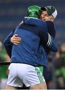 13 December 2020; Limerick strength and conditioning coach Mikey Kiely celebrates with Nickie Quaid after the GAA Hurling All-Ireland Senior Championship Final match between Limerick and Waterford at Croke Park in Dublin. Photo by Brendan Moran/Sportsfile