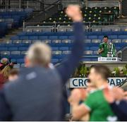 13 December 2020; Limerick manager John Kiely reacts as team captain Declan Hannon makes his victory speech after the GAA Hurling All-Ireland Senior Championship Final match between Limerick and Waterford at Croke Park in Dublin. Photo by Brendan Moran/Sportsfile