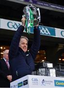 13 December 2020; Limerick coach selector Alan Cunningham  lifts the Liam MacCarthy Cup following the GAA Hurling All-Ireland Senior Championship Final match between Limerick and Waterford at Croke Park in Dublin. Photo by Ray McManus/Sportsfile