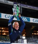 13 December 2020; Limerick liason officer Conor McCarthy lifts the Liam MacCarthy Cup following the GAA Hurling All-Ireland Senior Championship Final match between Limerick and Waterford at Croke Park in Dublin. Photo by Ray McManus/Sportsfile