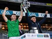 13 December 2020; Aaron, left, and Jason Gillane of Limerick lift the Liam MacCarthy Cup following  the GAA Hurling All-Ireland Senior Championship Final match between Limerick and Waterford at Croke Park in Dublin. Photo by Ray McManus/Sportsfile