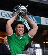 13 December 2020; Seán Finn of Limerick lifts the Liam MacCarthy Cup following the GAA Hurling All-Ireland Senior Championship Final match between Limerick and Waterford at Croke Park in Dublin. Photo by Ray McManus/Sportsfile