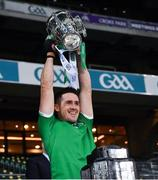 13 December 2020; Darragh O'Donovan of Limerick lifts the Liam MacCarthy Cup following the GAA Hurling All-Ireland Senior Championship Final match between Limerick and Waterford at Croke Park in Dublin. Photo by Ray McManus/Sportsfile