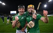 13 December 2020; Paddy O'Loughlin, left, and Dan Morrissey of Limerick celebrate following the GAA Hurling All-Ireland Senior Championship Final match between Limerick and Waterford at Croke Park in Dublin. Photo by David Fitzgerald/Sportsfile