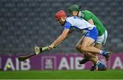 13 December 2020; Jack Prendergast of Waterford in action against William O'Donoghue of Limerick during the GAA Hurling All-Ireland Senior Championship Final match between Limerick and Waterford at Croke Park in Dublin. Photo by Piaras Ó Mídheach/Sportsfile